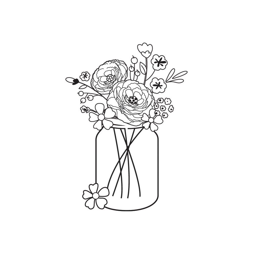 חותמת עץ-Mason Jar Bouquet